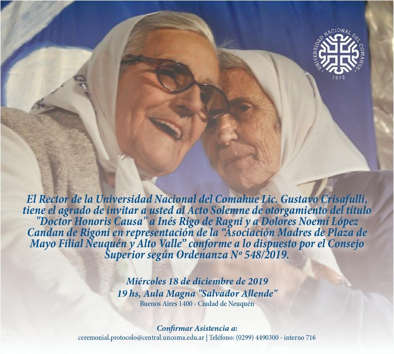 Transmisión especial: Honoris Causa a las  Madres de Neuquén