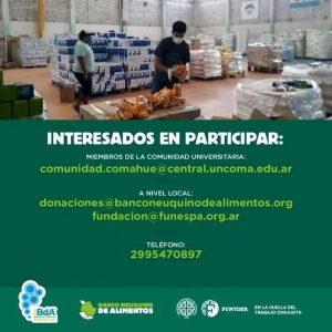En la huella del camino: La UNCo se suma al Banco de Alimentos para juntar donaciones