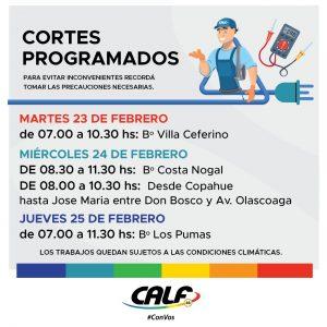 Cortes programados por la cooperativa CALF para la semana